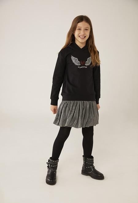Fleece combined dress for girl_1