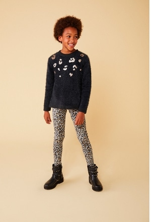 Strick pullover mit guipure für mädchen_1