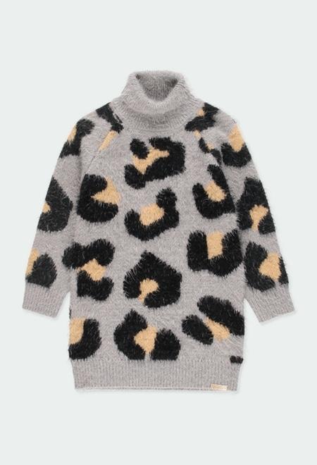Vestido tricotosa animal print de niña_1