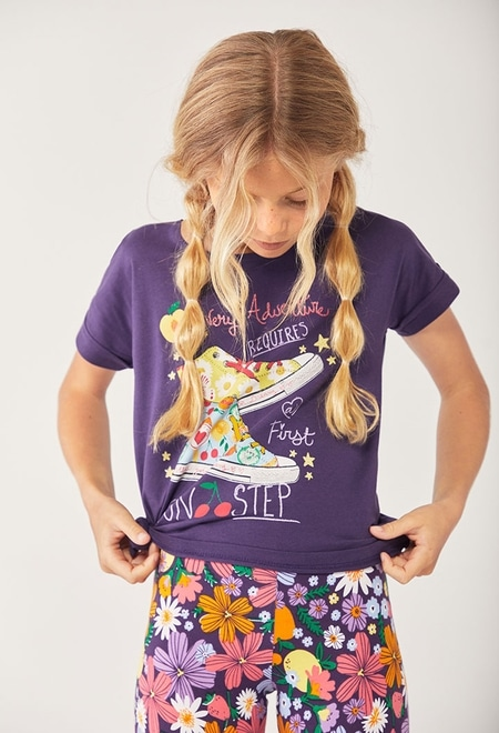 """Knit t-Shirt """"shoes"""" for girl_1"""