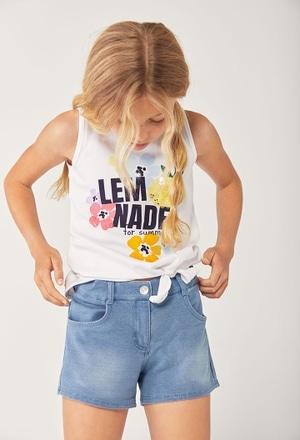 Camiseta malha elástica suspensórios para menina_1