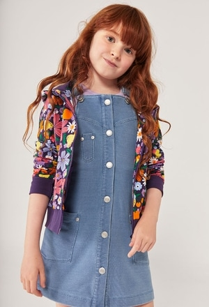 Fleece dungarees denim stretch for girl_1