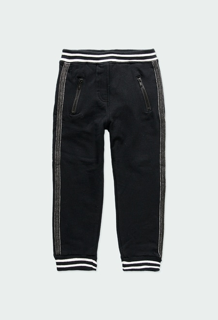 Fleece trousers with stripes for girl_1