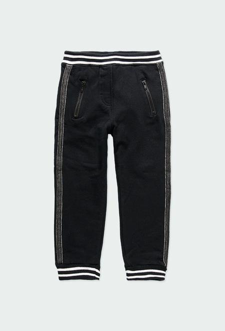 Pantalón felpa con bandas de niña_1