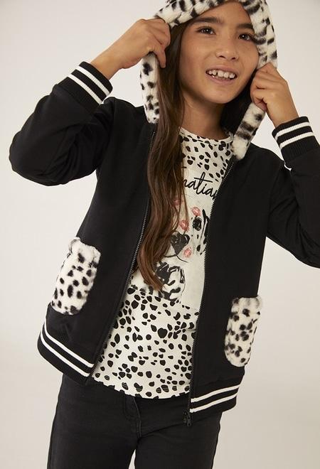 Fleece jacket combined fur for girl_1