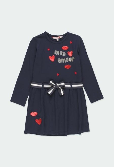 Vestido punto corazones de niña_1
