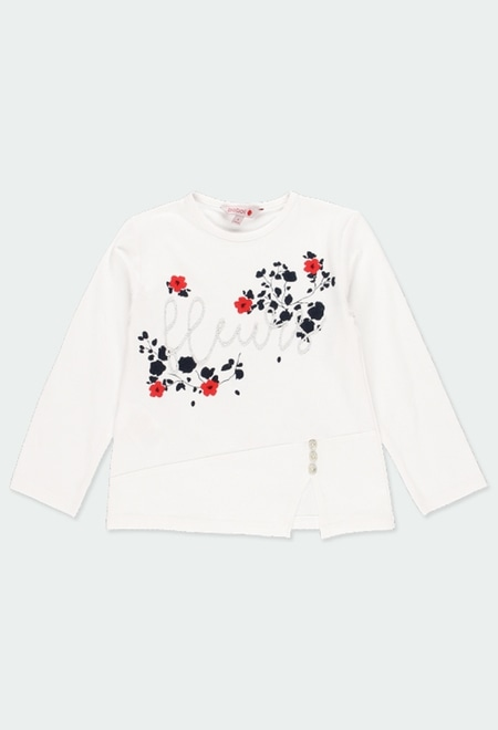 "Knit t-Shirt ""floral"" for girl_1"