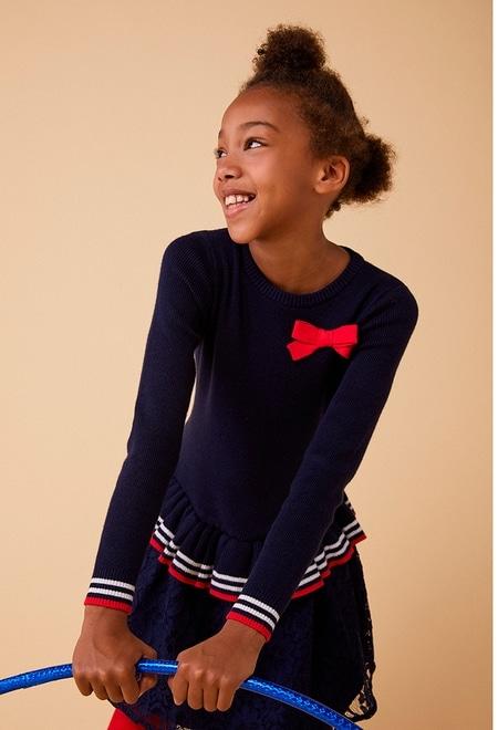 Vestido tricotosa con lazo de niña_1