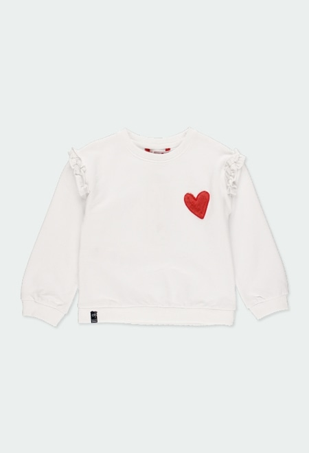 "Fleece sweatshirt ""heart"" for girl_1"