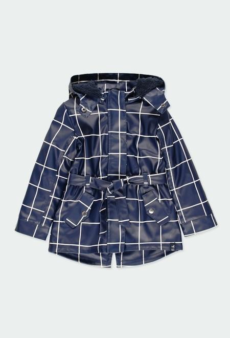 Hooded raincoat check for girl_1