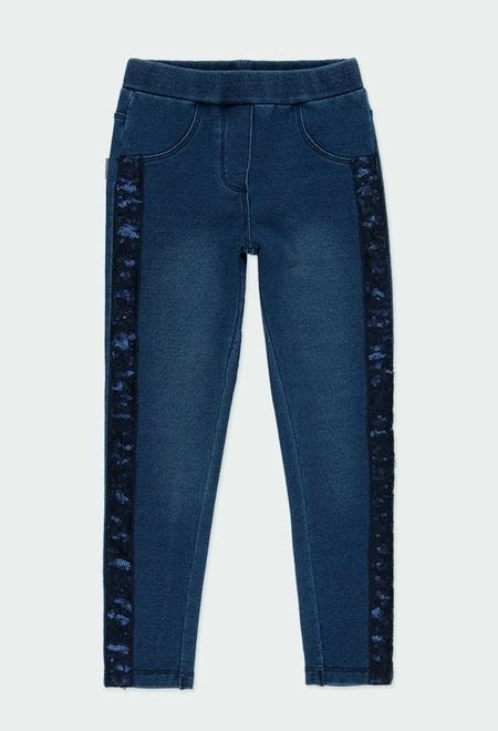 Fleece denim trousers for girl_1