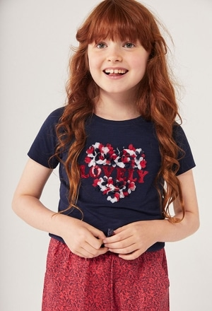 """Knit t-Shirt flame """"heart"""" for girl_1"""