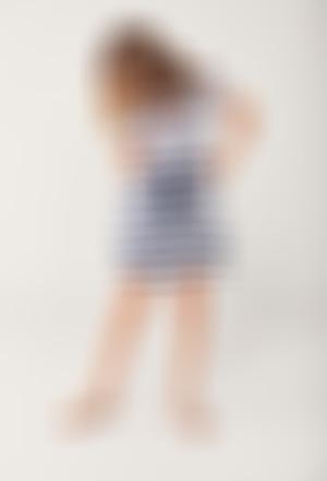 Vestido listado manga corta de niña