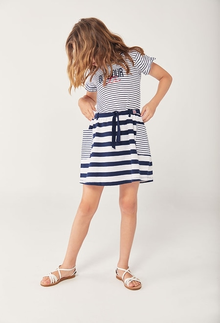 Dress striped short sleeves for girl_1