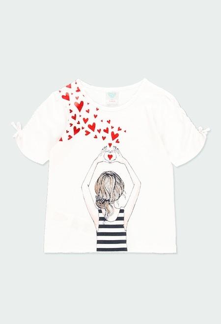 Camiseta punto flamé corazones de niña_1