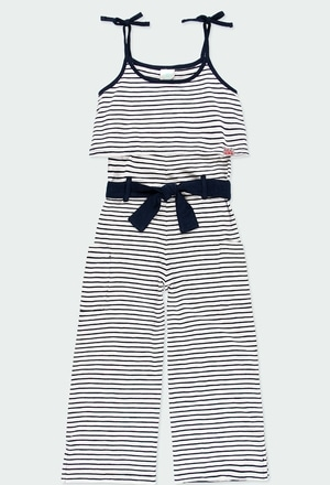 Knit jumpsuit flame striped for girl_1
