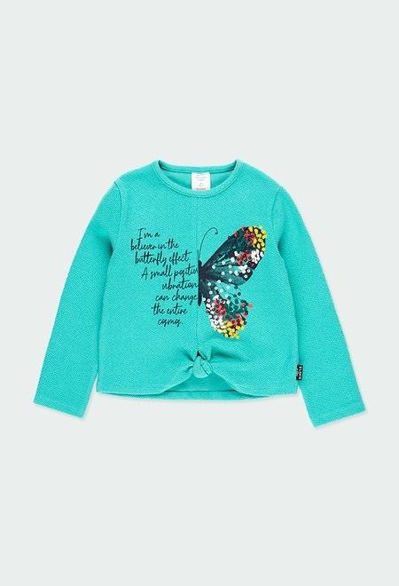 "Camiseta malha ""borboleta"" para menina_1"