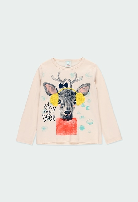 """Camiseta punto """"ciervo"""" de niña_1"""