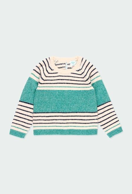 Pullover tricot às riscas para menina_1
