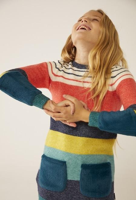 Vestido tricot combinado pelo para menina_1