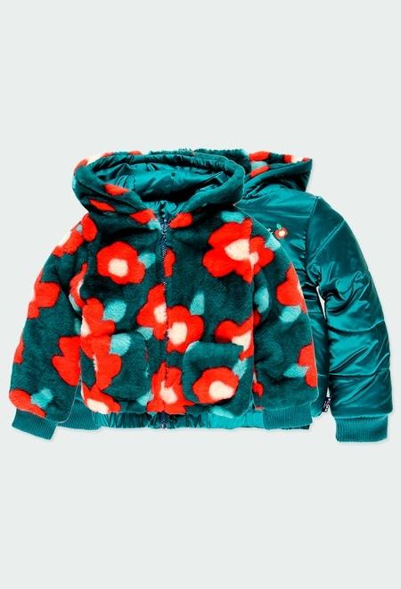 """Reversible parka fur """"floral"""" for girl_1"""