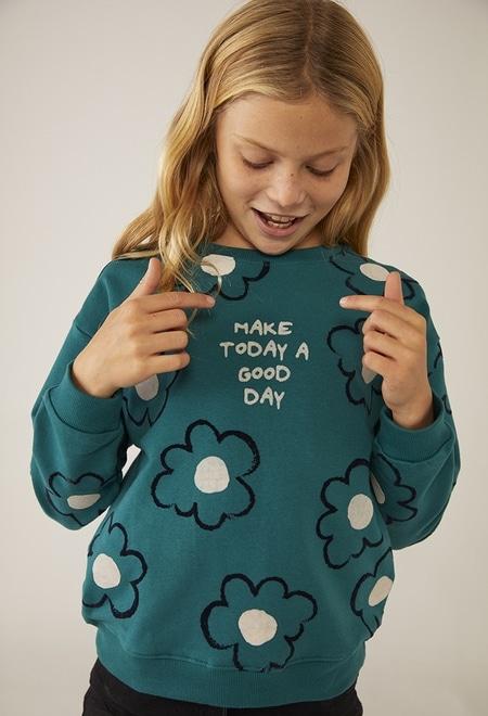"Sweatshirt felpa ""floral"" para menina_1"