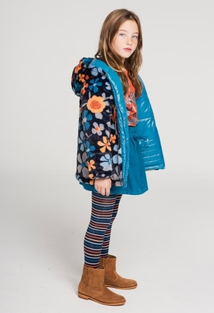 Reversible technical fabric parka for girl_1