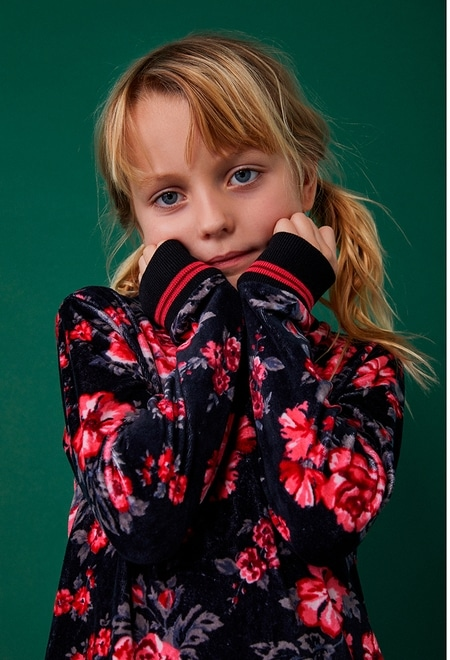 Robe en velours fleurs pour fille_1