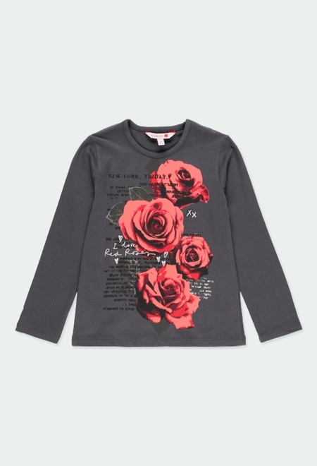 """T-Shirt stretch """"a fleurs"""" pour fille_1"""