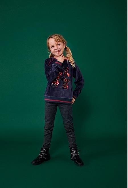 Knit trousers herringbone print for girl_1