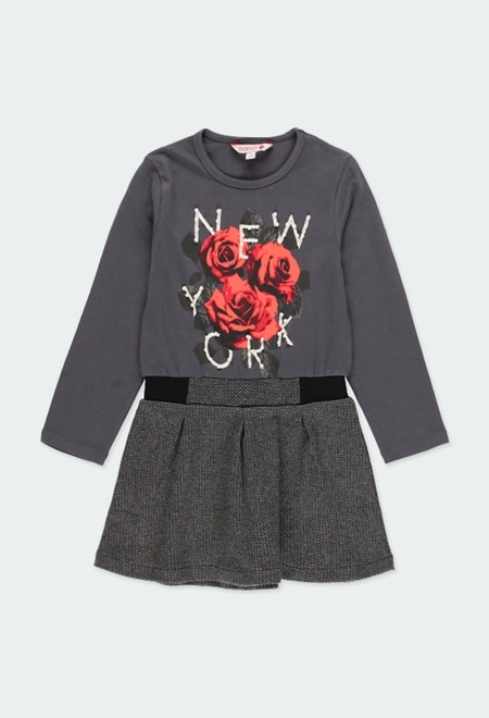 "Vestido malha ""new york 1845"" para menina_1"