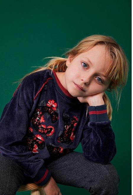 "Velour sweatshirt ""floral"" for girl_1"