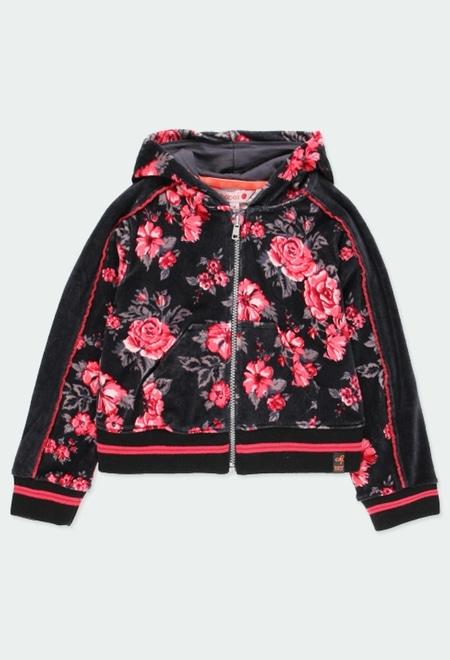 Casaco veludo floral para menina_1