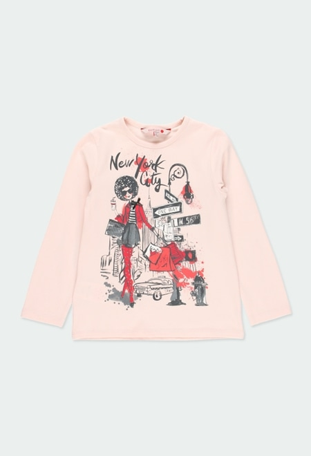 "Knit t-Shirt ""new york"" for girl_1"