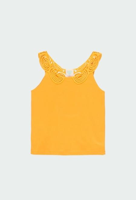 Camiseta punto con puntilla de niña_1