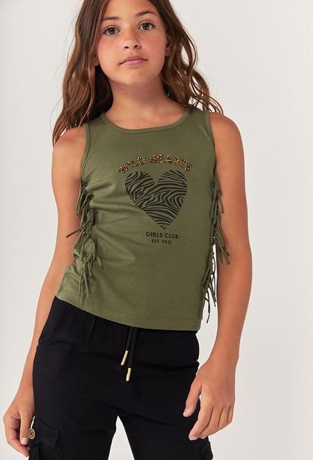 Camiseta malha com franjas para menina_1
