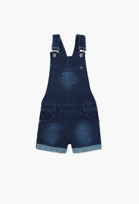 Fleece dungarees denim for girl_1