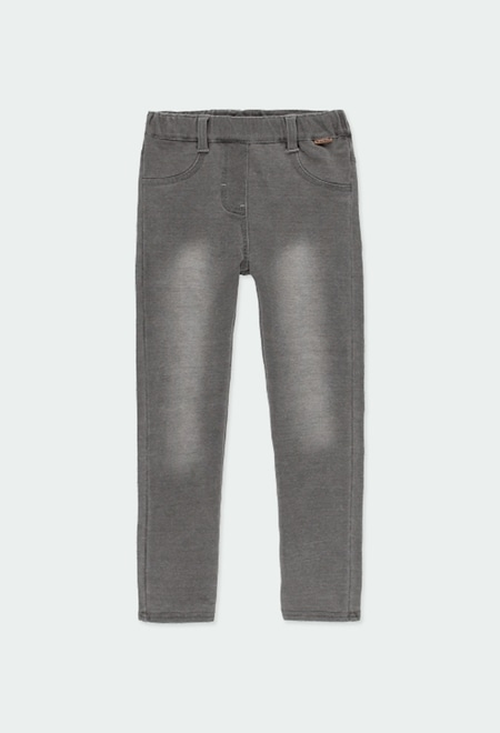 Fleece denim trousers for girl_1