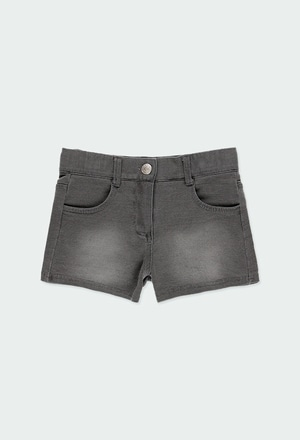 Fleece denim shorts for girl_1