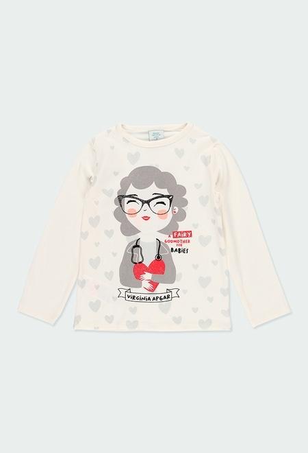 Camiseta malha estampado Virginia Apgar para menina_1