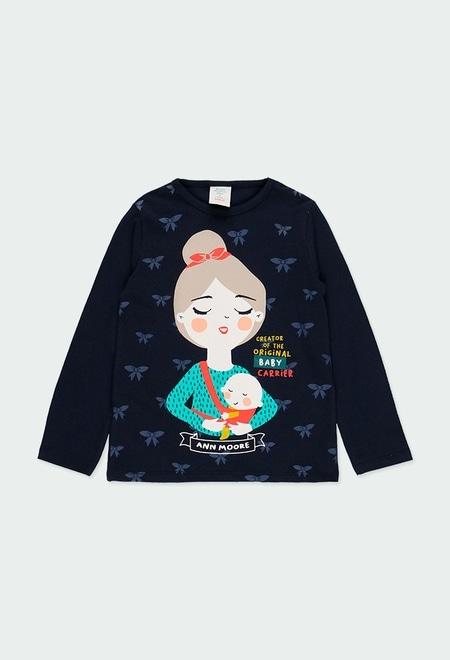 Knit t-Shirt printed Ann More for girl_1