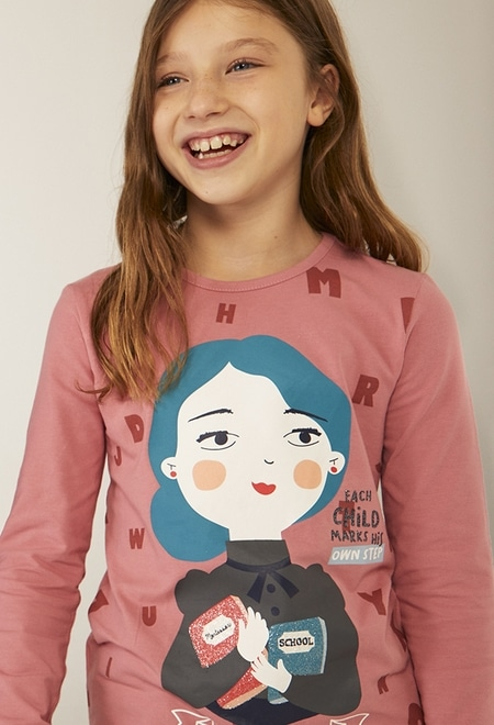Knit t-Shirt printed María Montessori for girl_1