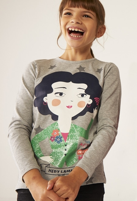 Knit t-Shirt printed  Hedy Lamarr for girl_1