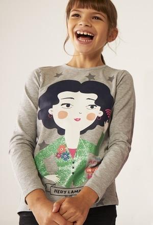 Camiseta malha estampado Hedy Lamarr para menina_1