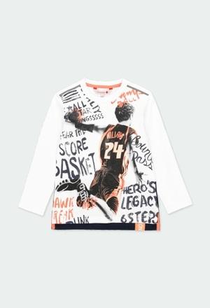 """Camiseta malha """"basket"""" para menino_1"""