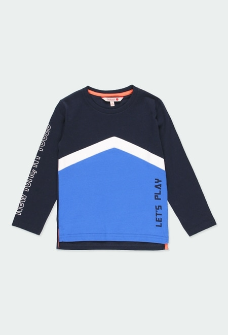 Knit t-Shirt with stripes for boy_1