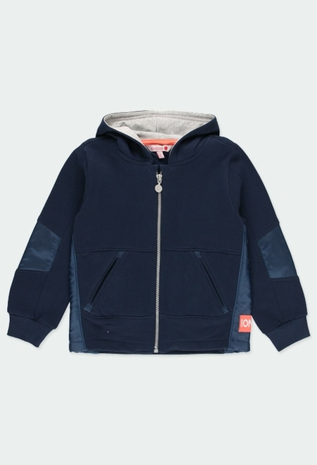 Fleece jacket with elbow patches for boy_1
