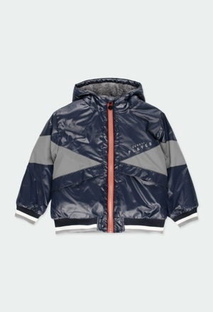 Technical fabric parka with stripes for boy_1