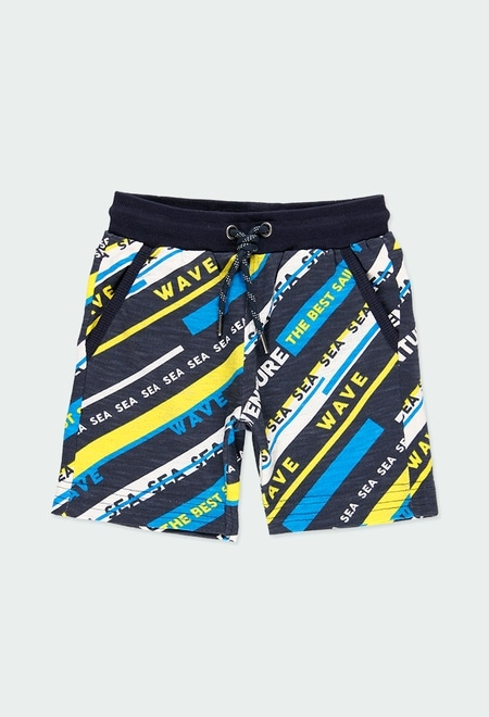 Fleece bermuda shorts striped for boy_1