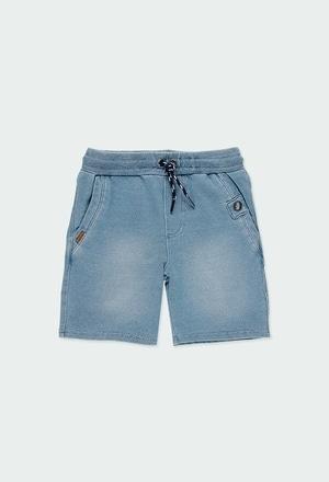 Fleece bermuda shorts denim for boy_1